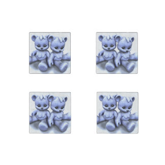 Plushie Blue Bears Stone Magnet