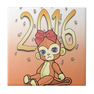 Plushie lindo poco mono de NewYear para 2016 Azulejo Cuadrado Pequeño