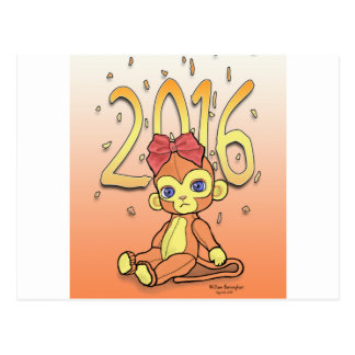 Plushie lindo poco mono de NewYear para 2016 Tarjeta Postal