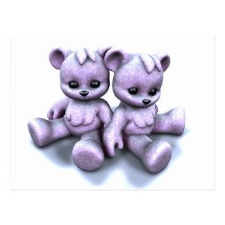 Plushie Purple Bears Postcard