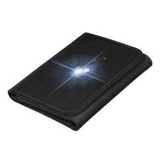 Pluto and Its Moons- Charon, Nix, and Hydra- Unlab Leather Tri-fold Wallet