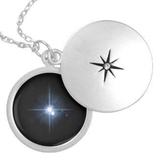 Pluto and Its Moons- Charon, Nix, and Hydra- Unlab Round Locket Necklace
