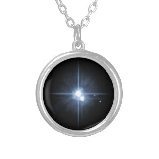 Pluto and Its Moons- Charon, Nix, and Hydra- Unlab Round Pendant Necklace