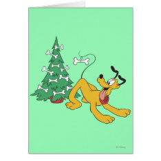 Pluto at Christmas Greeting Card at Zazzle