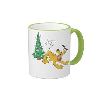 Pluto at Christmas Ringer Coffee Mug