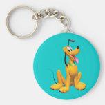 Pluto   Cartoon Side Basic Round Button Keychain