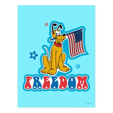 Disney Themed Pluto | Freedom with Flag Postcard