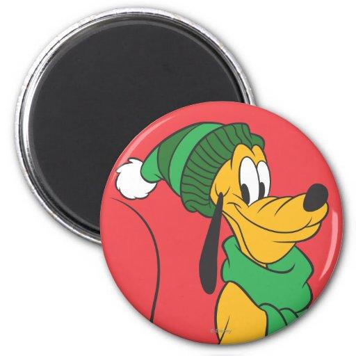 Pluto In Winter Gear 2 Inch Round Magnet