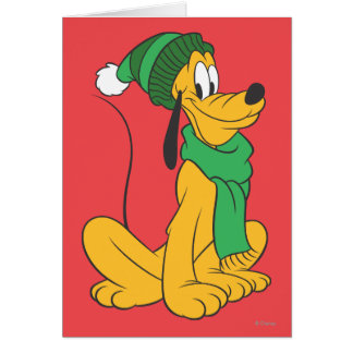 Pluto In Winter Gear Greeting Card