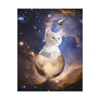 Pluto, Kitten, and New Horizons, Nebula and Stars Canvas Print