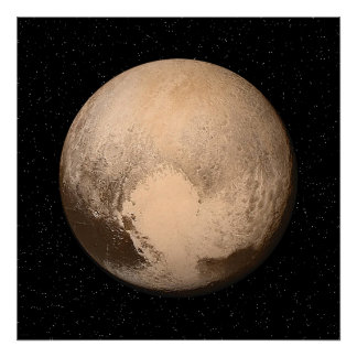 Pluto with Star Field - Poster