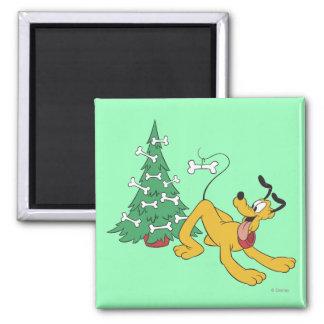 Plutón en el navidad imán cuadrado