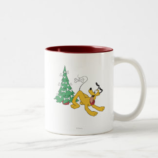 Plutón que adorna el árbol taza de café de dos colores