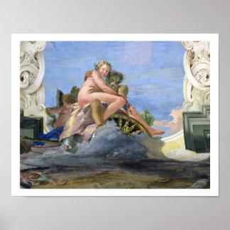 Plutón que viola Proserpine (fresco) Poster