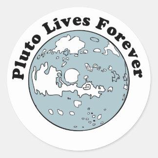 Plutón vive para siempre pegatina redonda