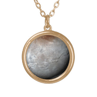 Pluto's Largest Moon: Charon Gold Plated Necklace
