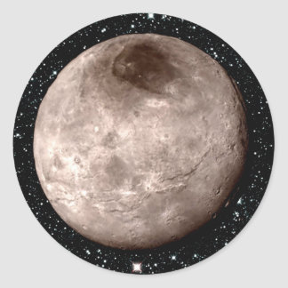 PLUTO'S MOON CHARON star background (solar system) Classic Round Sticker