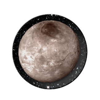 PLUTO'S MOON CHARON star background (solar system) Porcelain Plate