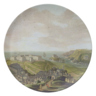Plymouth, 1673 (aceite en lona) platos de comidas