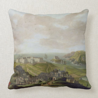 Plymouth, 1673 (oil on canvas) throw pillow