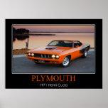 Plymouth 1971 Hemi Cuda - coche del músculo Póster