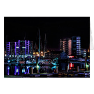 Plymouth Barbican by Night - blank notelet Greeting Cards