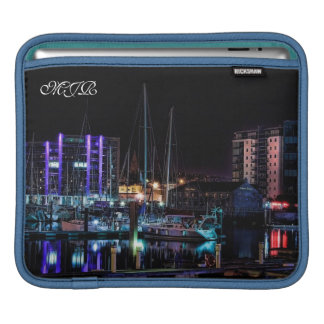 Plymouth Barbican View by Night - Monogram iPad Sleeve