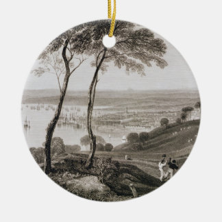 Plymouth Dock from Mount Edgecombe, from 'Cooke's Double-Sided Ceramic Round Christmas Ornament