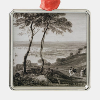 Plymouth Dock from Mount Edgecombe, from 'Cooke's Square Metal Christmas Ornament