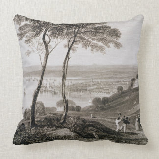 Plymouth Dock from Mount Edgecombe, from 'Cooke's Throw Pillow