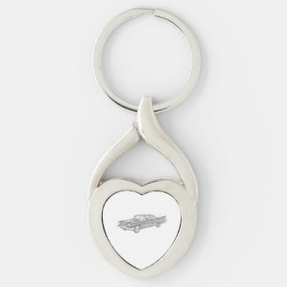 Plymouth Fury 1958 Silver-Colored Heart-Shaped Metal Keychain
