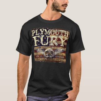 Plymouth Fury Against Eroded Flag - Skull n Wings T-Shirt