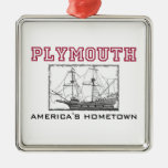 Plymouth, mA Adorno Navideño Cuadrado De Metal