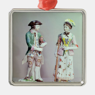 Plymouth porcelain shepherd and shepherdess metal ornament