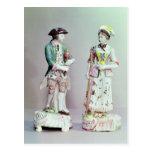 Plymouth porcelain shepherd and shepherdess postcard