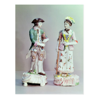 Plymouth porcelain shepherd and shepherdess postcard