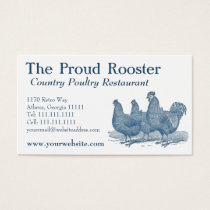 Plymouth Rock Chickens, Blue Rooster, Hens Business Card