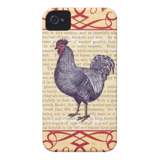 Plymouth Rock Rooster Vintage Poultry Farm Case-Mate iPhone 4 Cases