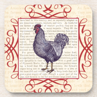 Plymouth Rock Rooster Vintage Poultry Farm Coaster