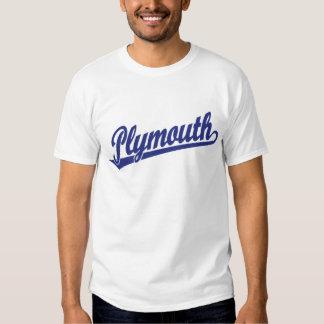 Plymouth script logo in blue shirt