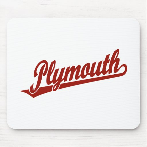Plymouth script logo in red mouse pad