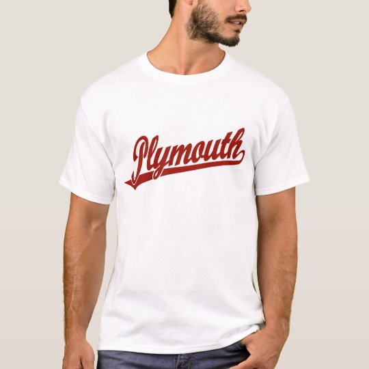 Plymouth script logo in red T-Shirt