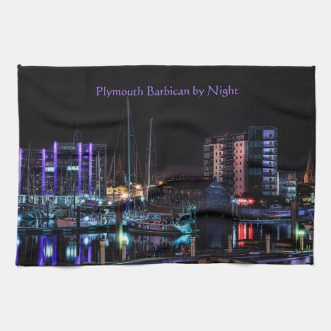 Plymouth Souvenir - The Barbican by Night Kitchen Towel