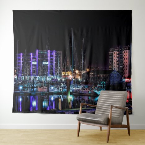Plymouth Souvenir - The Barbican by Night Tapestry