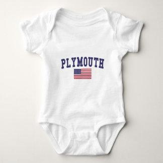 Plymouth US Flag Baby Bodysuit