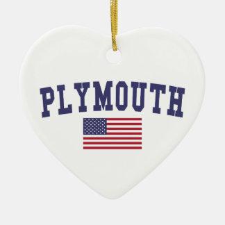 Plymouth US Flag Ceramic Ornament