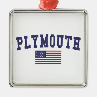 Plymouth US Flag Metal Ornament