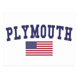 Plymouth US Flag Postcard