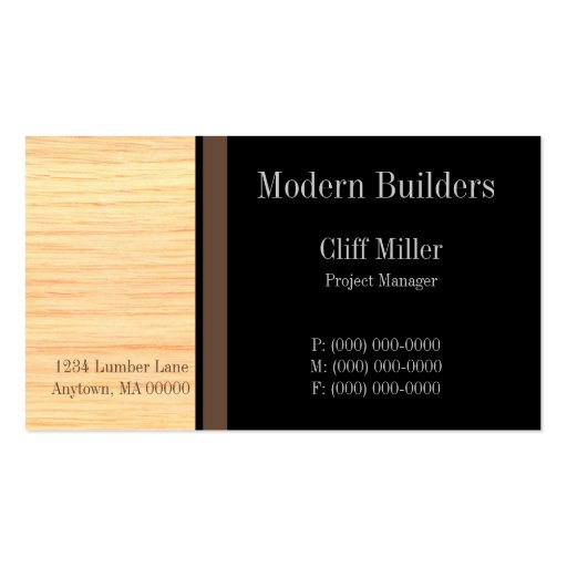 Plywood Construction Business Card, Brown