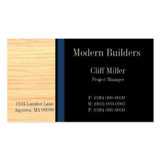 Plywood Construction Business Card, Marine Blue